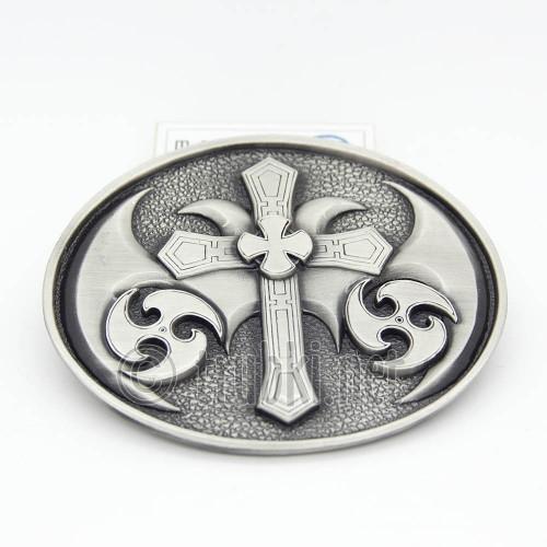 Крест в круге с сюрикенами. Пряжка ременная