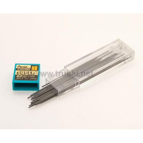 Запасные грифели для карандашей. Pentel Hi-Polimer 0.7мм, HB, 30 шт.